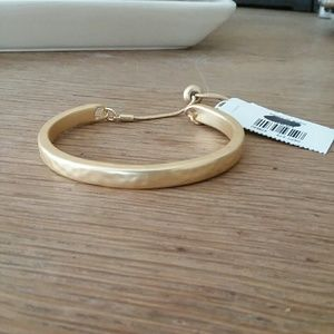 Gold hammered slide tie bracelet